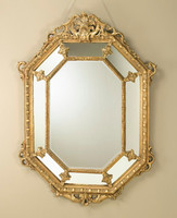 """Acanthus Pediment Louis XIV 62"""" Hexagon Bevel European Style Mirror - Gilt Finish, 5113"""