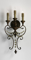 Francais Provencale Three Light Wrought Iron - 26.25 Inch Wall Bracket | Sconce - Brun Dore Finish - Draped with Wood Beads
