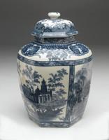Blue and White Transferware Porcelain Tea Jar, 10.5 Inches Tall