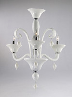 Gloss White Glass Chandelier - Contemporary Style - Three Lights