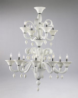 Gloss White Glass Chandelier - Contemporary Style - Twelve Lights
