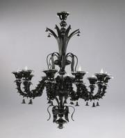 Ebony Black Finely Finished Glass Pagoda 59 Inch Chandelier - Contemporary Style - Ten Lights