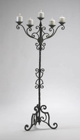 Iron Scroll 56.5 Inch Tall, Five Pillar Candle Floor Candelabrum, Antique Patina Finish