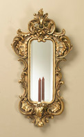 "Louis XV Rococo Girandole, 35"" Bevel Glass Mirror Wall Bracket Taper Candle Sconce, Gilt Finish, 5087"