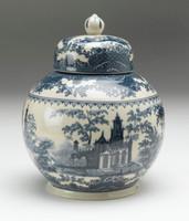 Blue and White Transferware Porcelain Tea Jar, 7.5 Inches Tall