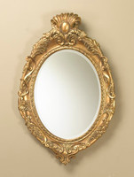 "Baroque Louis XIII 39"" Oval Bevel European Style Cartouche Mirror - Gilt Finish, 5076"