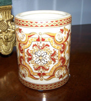 Burgundy Medallion and Gold, Luxury Handmade Reproduction Chinese Porcelain, 4 Inch Toothbrush Holder | Pen Cup, Style G722