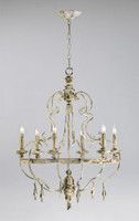 Italian Farmhouse Style - 25.5 Inch Wrought Iron and Wood Six Light Chandelier - Distressed White Finish
