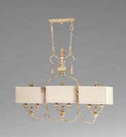 French Country Pattern - Wrought Iron and Wood Six Light Island Fixture with Square Shades - Distressed White Finish
