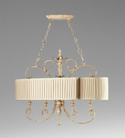 French Country Pattern - Wrought Iron and Wood Four Light Island Fixture with Pleated Shade - Distressed White Finish
