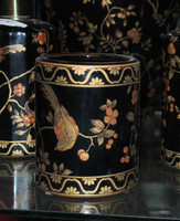 Ebony Black and Gold Pagoda - Luxury Handmade Reproduction Chinese Porcelain - 4 Inch Toothbrush Holder | Pen Cup - Style G722