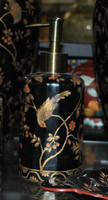 Ebony Black and Gold Pagoda, Luxury Handmade Reproduction Chinese Porcelain, 6 Inch Lotion or Soap Dispenser, Style G094 or N094