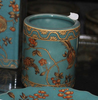 Teal Blue and Gold Pagoda, Luxury Handmade Reproduction Chinese Porcelain, 4 Inch Toothbrush Holder | Pen Cup, Style G722