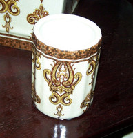 Mosaic Magnificence, Luxury Handmade Reproduction Chinese Porcelain, 4 Inch Toothbrush Holder | Pen Cup, Style G722