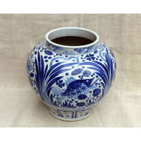 Blue and White Decorative Porcelain Planter - 13.5 Inches Tall