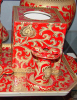 French Red and Gold Lotus Scroll, Luxury Handmade Reproduction Chinese Porcelain, 6 Inch Boudoir - Boutique Tissue Box, Style M422