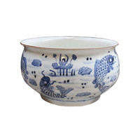 Blue and White Decorative Porcelain Orchid Bowl - 15.5 Inch Diameter