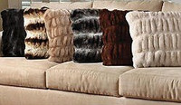 Softest Ever Faux Fur - Sheared and Gather Pleated - 24 Inch Square Pillow, 4969