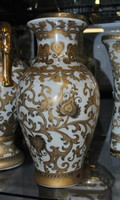 Ivory and Gold Lotus Scroll Arabesque - Luxury Handmade Reproduction Chinese Porcelain - Customizable 12 Inch Mantel Vase | Jardiniere - Style 3