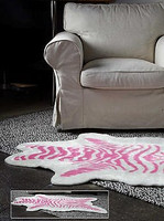Petit Pink Zebra Faux Hide Rug - Natural Look and Authentic Shape - 36 Inches X 58 Inches