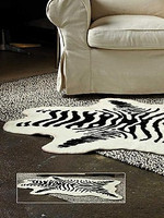 Petit Zebra Faux Skin Rug - Natural Look and Authentic Shape - 36 Inches X 58 Inches
