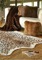 Luxurious Leopard Faux Skin Rug - Natural Look and Authentic Shape - 56 Inches X 93 Inches