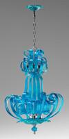 Transparent Aquamarine Scroll Contemporary Glass Chandelier