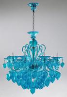 Transparent Aquamarine Glass Chandelier - Bohemian Chic Style - Eight Lights