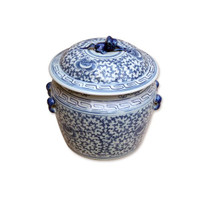 Blue and White Decorative Porcelain Jar - 9 Inches Tall