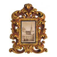 Ornate Baroque Style 4 X 6 Photo Frames, Set of Two, Antique Gold Finish with Red Accents