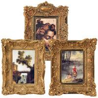 Ornate Baroque Style 4 X 6 Photo Frames, Set of Three, Antique Gold Finish