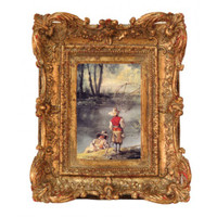 Ornate Baroque Style 4 X 6 Photo Frames, Set of Three, Antique Gold Finish with Red Accents