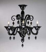Ebony Black Finely Finished Glass 24 Inch Chandelier - Contemporary Style - Five Lights