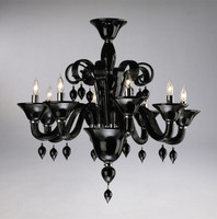 Ebony Black Finely Finished Glass 29 Inch Chandelier - Contemporary Style - Eight Lights