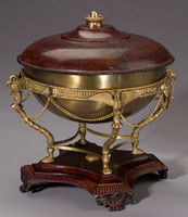 Empress Josephine French Empire Style 12 Inch Solid Brass Covered Dish with Stand, Antique Bronze Finish
