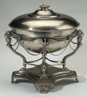 Solid Brass, 12 Inch Covered Serving Dish with Stand, Pewter Finish