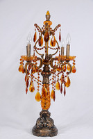 Baroque Style, Modern 34 Inch Electric Candelabrum Golden Amber Accents Lamp, Antique Finish