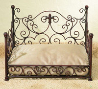 The Pampered Pet - Iron Fleur de Lis Scroll Luxury Pet Bed - Antique Brown Finish