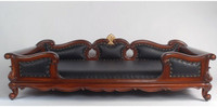 Hardwood Hand Carved and Black Leather - 48 Inch Pet Sofa - Rich Wood Finish