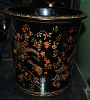 Ebony Black and Gold Pagoda, Luxury Handmade Reproduction Chinese Porcelain, 10 Inch Wastebasket, Style 922