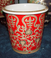 French Red and Gold Lotus Scroll, Luxury Handmade Reproduction Chinese Porcelain, 10 Inch Wastebasket, Style 922
