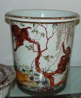 Merry Monkeys, Luxury Handmade Reproduction Chinese Porcelain, 10 Inch Wastebasket, Style 922