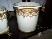Neo Classical Ivory and Gold, Luxury Handmade Reproduction Chinese Porcelain, 10 Inch Wastebasket, Style 922