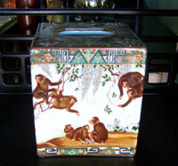 Merry Monkeys, Luxury Handmade Reproduction Chinese Porcelain, 6 Inch Boudoir - Boutique Tissue Box, Style M422