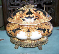 Ebony Black and Gold Acanthus - Luxury Handmade Reproduction Chinese Porcelain and Gilt Brass Ormolu - Statement 8 inch Oval Serpentine Covered Dish Style B248