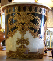 Ebony Black and Gold Acanthus, Luxury Handmade Reproduction Chinese Porcelain, 10 Inch Wastebasket, Style 922