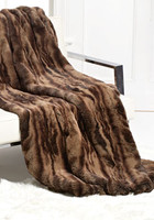 Reddish Brown Variegated Sheared Mink - Luxaire Faux Fur Throw - Natural look & Luxuriously Soft - 59 Inch Large 6960 - 58 X 59 Washable - Furniture Accent