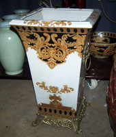 Ebony Black and Gold Acanthus, Luxury Handmade Reproduction Chinese Porcelain and Gilt Brass Ormolu, 20 Inch Tapered Square Umbrella Storage Statement Vase, Style B967