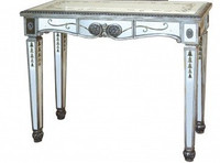 Reverse Hand Painted Silver Mirror - 38 Inch Small Accent Console or Sofa Table - Louis XVI Neo Classical Style