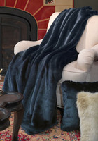 Icy Blue Sheared Mink - Luxaire Faux Fur Throw - Natural look & Luxuriously Soft - 83 Inch Oversized